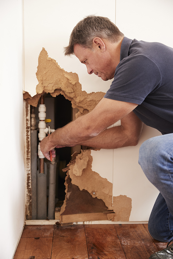 A plumber is doing an emergency repair to a burst pipe in an interior wall behind drywall